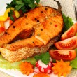 Stock Photo: Appetizing grilled salmon with vegetables close up