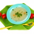 Diet soup with vegetables in plate isolated on white — Stock Photo