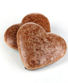 Chocolate cookies in form of heart isolated on white — Stock Photo