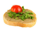 Fresh pate on bread, isolated on white — Stock Photo