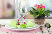 Romantic table serving on bright background — Stockfoto