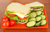 Tasty sandwiches on plate in cafe — Stock Photo