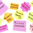 Stock Photo: Password's reminders isolated on white
