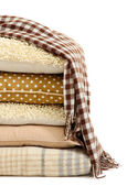 Hill colorful pillows and plaids isolated on white — Foto Stock
