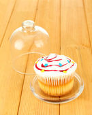 Cupcake on saucer with glass cover, on wooden background — Stock Photo