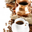 Cup and pot of coffee and coffee beans, isolated on white — 图库照片