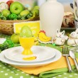 Royalty-Free Stock Photo: Serving Easter table on room background