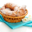 Stock Photo: Taste croissants in basket isolated on whit