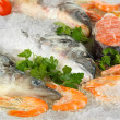 Fresh seafood on ice - Stock Photo