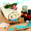 Sea spa elements on wooden table close up — Lizenzfreies Foto