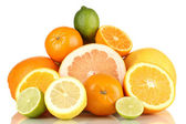 Lots ripe citrus isolated on white — Stock Photo