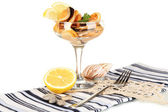 Cocktail of mussels in vase isolated on white — ストック写真