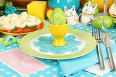 Serving Easter table with tasty dishes close-up — Photo