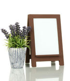 Brown photo frame as easel isolated on white — Stock Photo