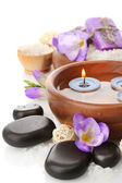 Beautiful spa setting with flowers, isolated on white — Stock Photo