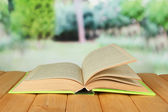 Opened book on bright background — Stock Photo