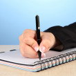 Hand write on notebook, on color background — Stockfoto #21768185