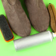 Set of stuff for cleaning and polish shoes, on color background — Stock Photo #21769673