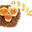 Decorative roses from dry orange peel on coffee beans heap — Stock Photo