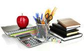 School en office supplies op geïsoleerde wit — Stockfoto