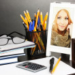 White photo frame on office desk on grey background — Stockfoto