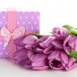 Beautiful bouquet of purple tulips and gift box, isolated on white — Stock Photo #21771619