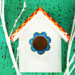 decorative nesting box on color background — Stock Photo