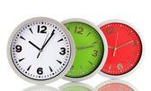Round office clocks isolated on white — Stock Photo
