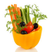 Assorted raw vegetables sticks in pepper bowl isolated on white — Stock Photo