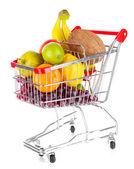 Verschiedene früchte in trolley isoliert auf weiss — Stockfoto