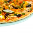 Tasty pizza with vegetables, chicken and olives isolated on white — Stock Photo #21911427