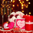 Composition Valentine's Day on lights background - Stock fotografie