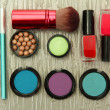 Decorative cosmetics on grey background — Stock Photo