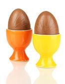 Chocolate eggs isolated on white — Stock Photo