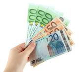 Billets en euros, isolé sur un blanc — Photo