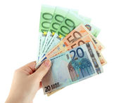 Euro banknotes isolated on a white — Stock Photo