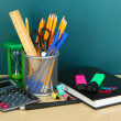 School supplies on wooden table — Stock Photo #21921763