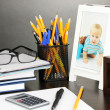 White photo frame on office desk on grey background — Стоковая фотография