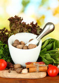 Composizione di erbe mortaio, spezie, pomodori e verde, su sfondo luminoso — Foto Stock