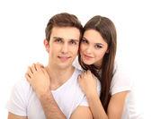 Loving couple isolated on white — Stock Photo