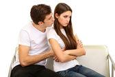 Young couple quarreling isolated on white — Stock Photo