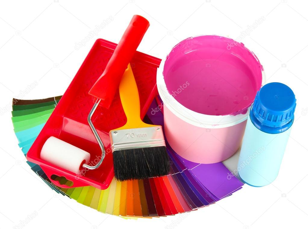 pour la peinture peindre pot pinceaux rouleau peinture et palette de couleurs isol sur. Black Bedroom Furniture Sets. Home Design Ideas