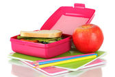 Lunch box with sandwich,apple and stationery isolated on white — Stock Photo