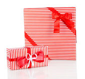 Gift boxes, festive wrapping isolated on white — Stock Photo