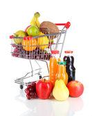 Diferentes frutas en carro con jugo aislado en blanco — Foto de Stock