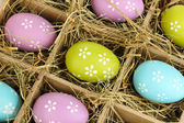 Easter eggs in wooden basket close up — Stock Photo