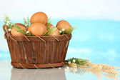 Eggs in basket on blue natural background — Stock Photo