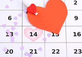 Notes on the calendar (valentines day), close-up — Stock Photo