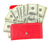 Purse with hundred dollar banknotes, isolated on white — Stock Photo