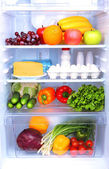 Refrigerator full of food — 图库照片